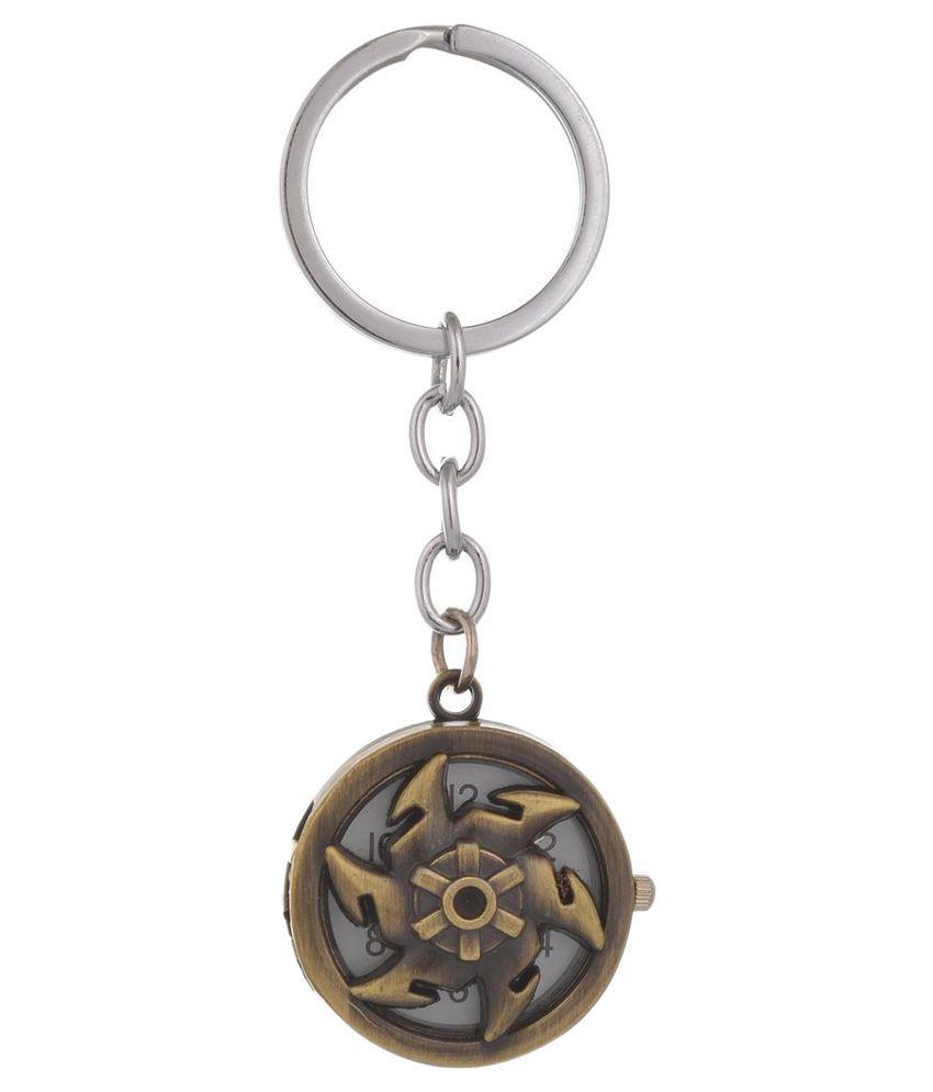 Kairos Metal Ninja Pocket Keychain With Antique Gold Polish Clock