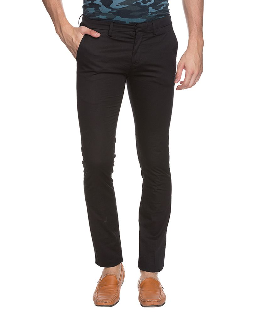 Mufti Black Super Skinny Fit Trousers