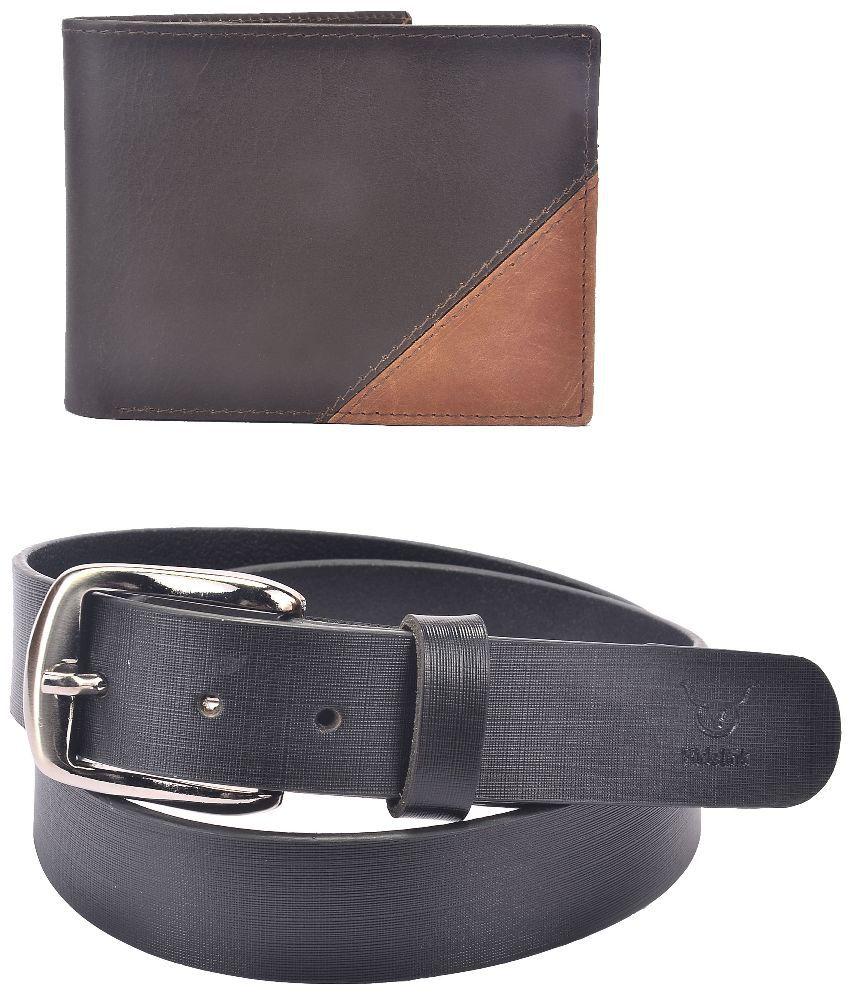 Hidelink Black Leather Single Formal Belt with Wallet for Men