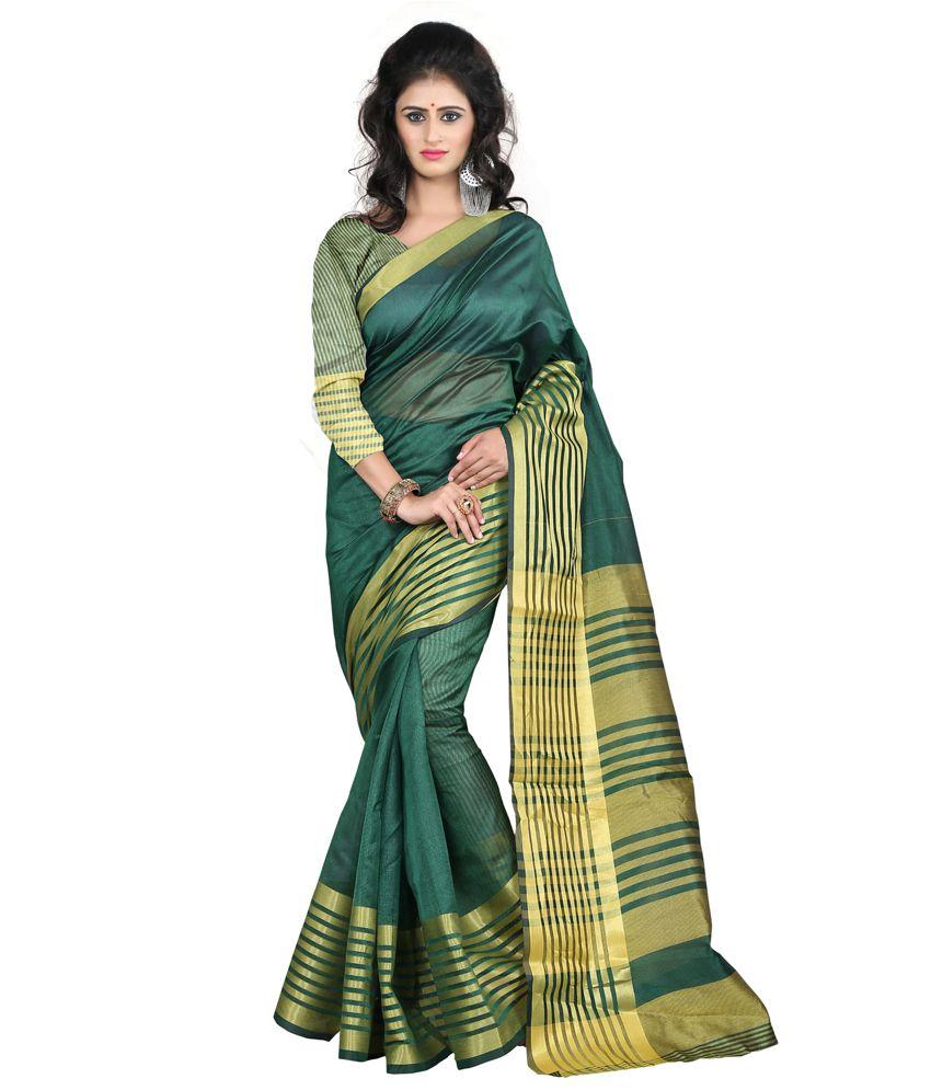 JustFashion Green Cotton Silk Saree