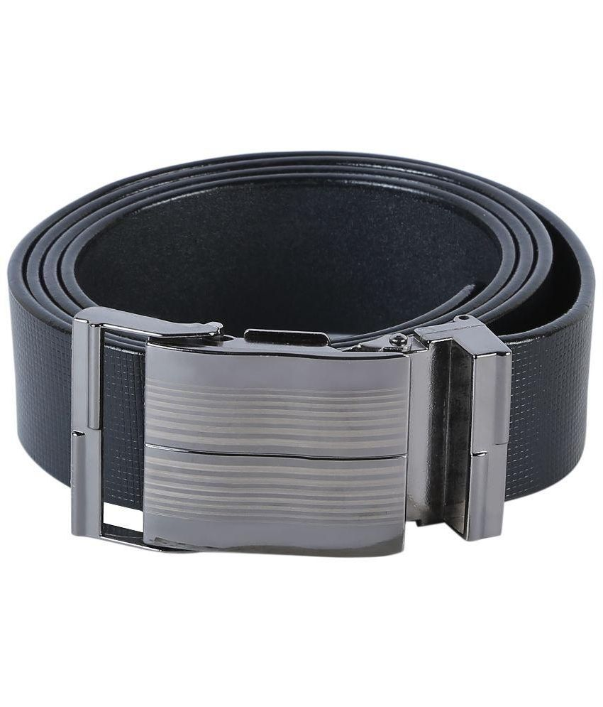 Tie & Cuffs Black Genuine Leather Belt for Men
