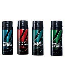 Wild Stone Combo of Aqua Fresh, Ultra Sensual, Hydra Energy & Forest Spice Deodorants (150 ml each)