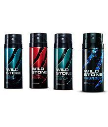 Wild Stone Combo of Aqua Fresh, Ultra Sensual, Hydra Energy & Thunder Deodorants (150 ml each)