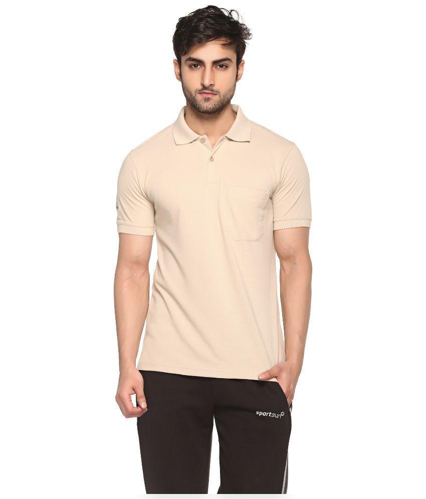 Sport Sun Beige Cotton Polo T-Shirt for Men
