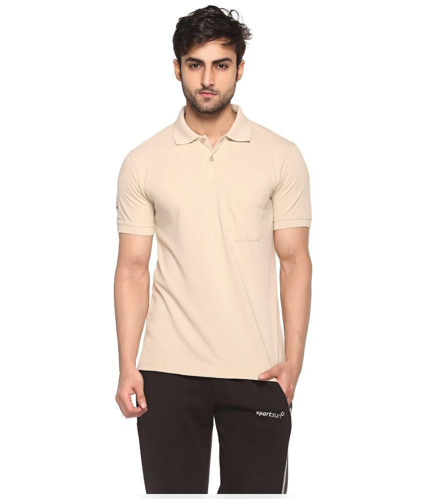Sport Sun Beige Cotton Polo T-Shirt for Men