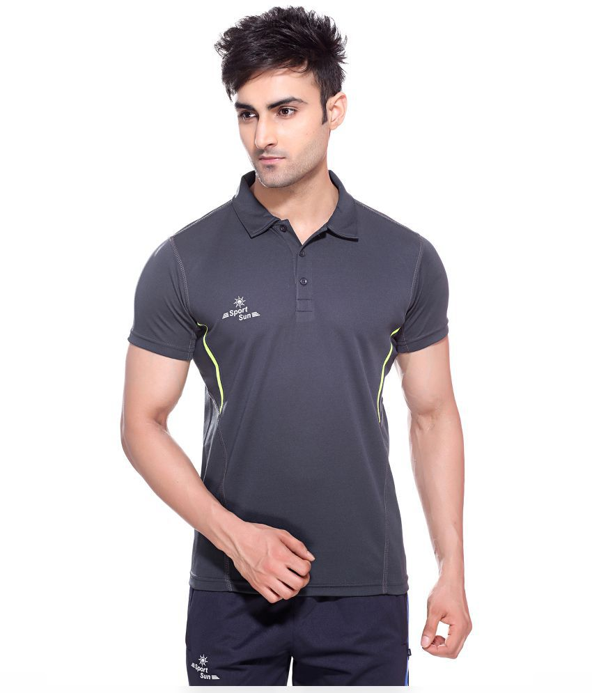 Sport Sun Gray Polyester Polo T-Shirt for Men