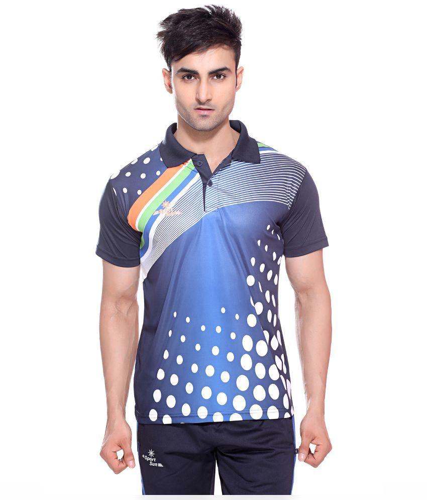 Sport Sun Multicolour Polyester Polo T-Shirt for Men