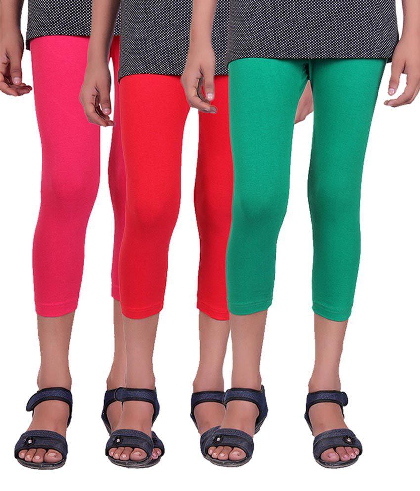 Alisha Multicolour Cotton Lycra Girls Capri - Pack of 3