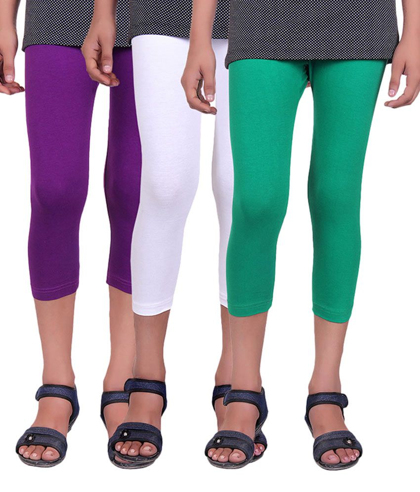 Alisha Multicolour Cotton Lycra Girls Capri - Pack of 3