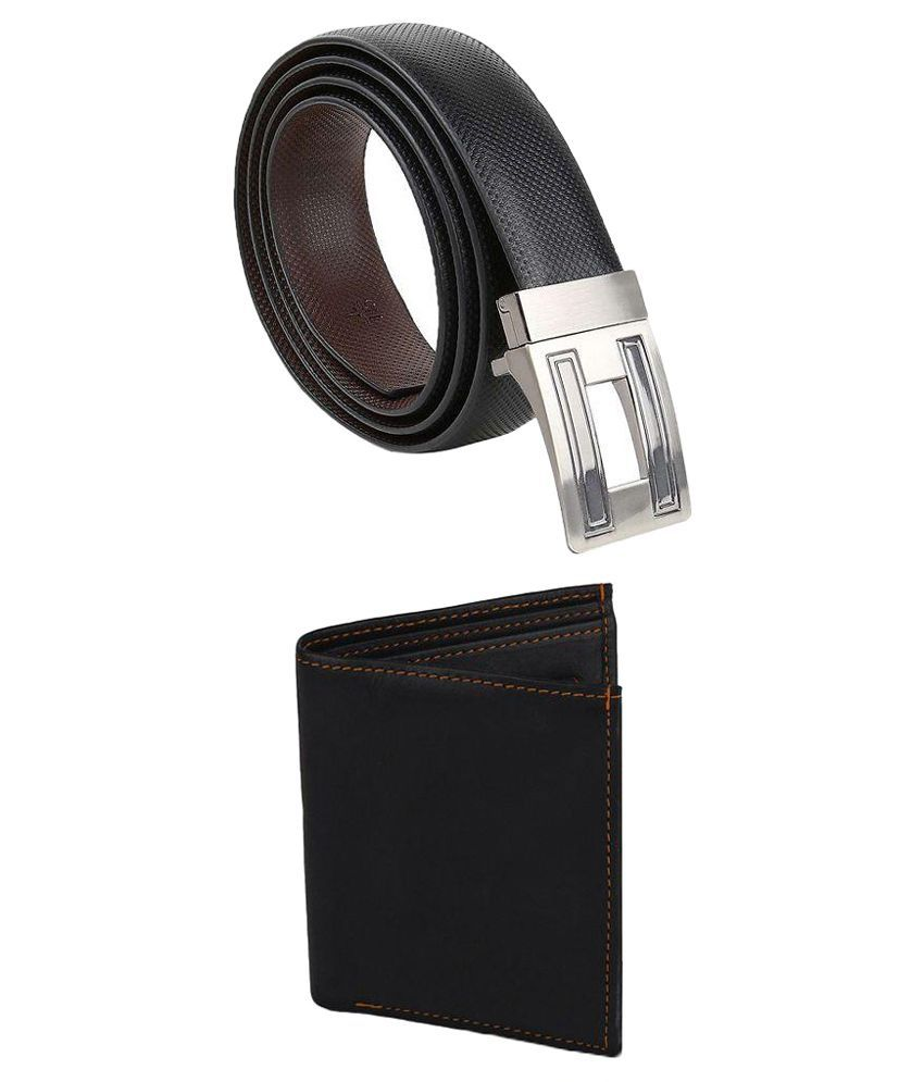 Kailasa Black Reversible Casual Belt With Wallet
