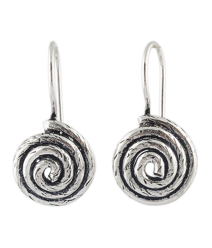 Jewels Of Jaipur Alloy Oxidised Studded Silver Coloured Earrings