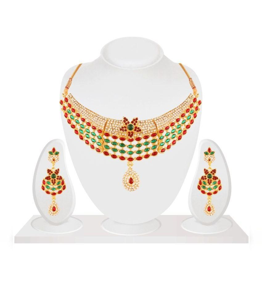 Panini Alloy Gold Plating Studded Multicolored Necklace Set