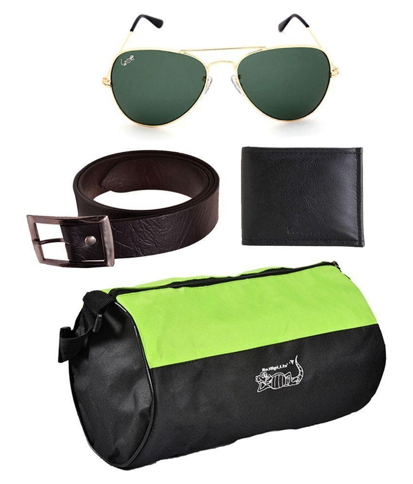 Elligator Multicolor Combo of Gymbag ,Belt , Wallet and Sunglass