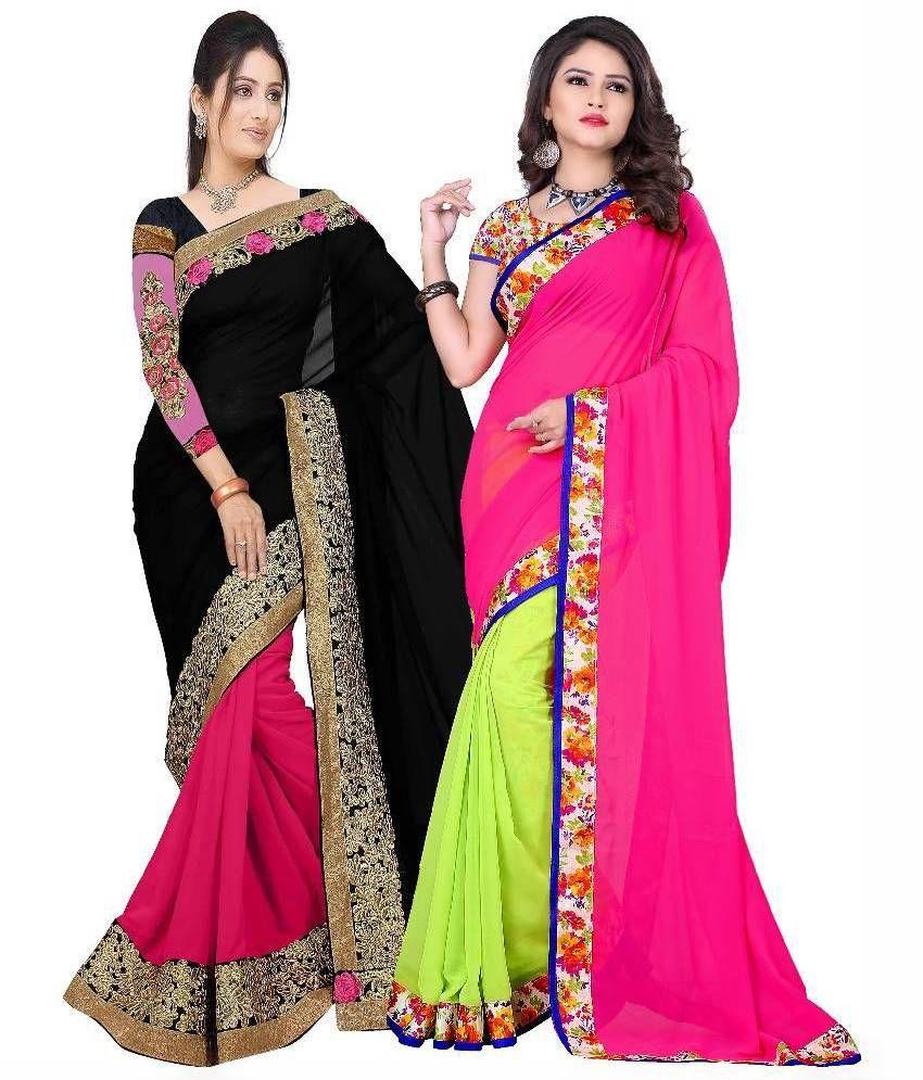 Khushi Fashion Multicoloured Georgette Saree Combos