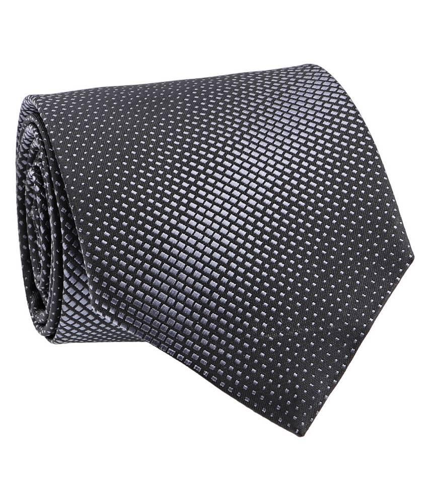 Milano X'Xssories Black & Grey Micro Fiber Necktie for Men