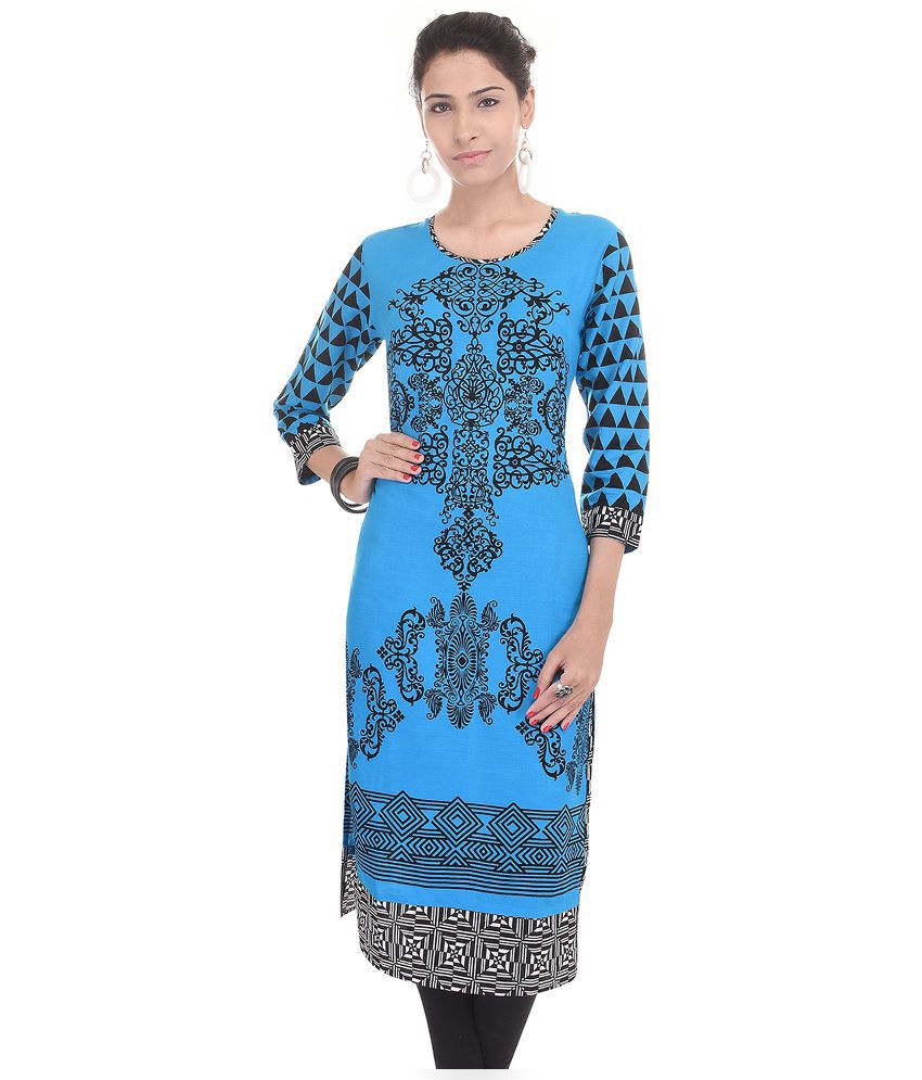Shopping World Blue Cotton Straight Kurti