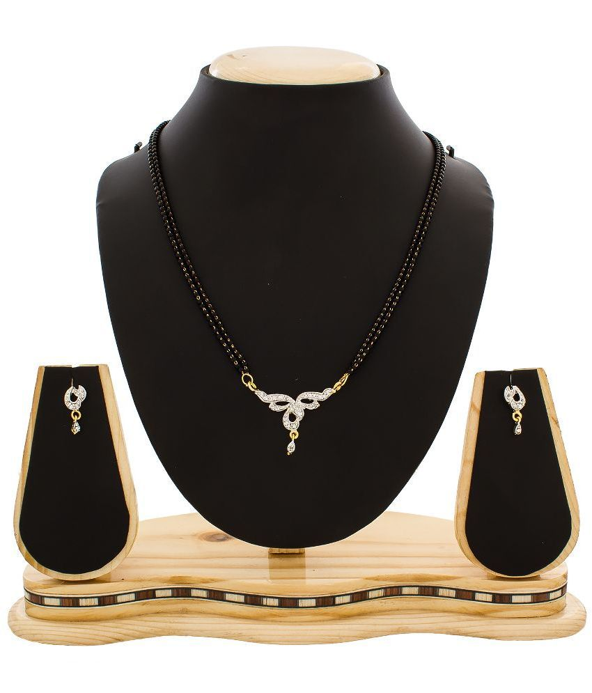 The Luxor Alloy American diamonds Studded White Coloured Mangalsutra Set
