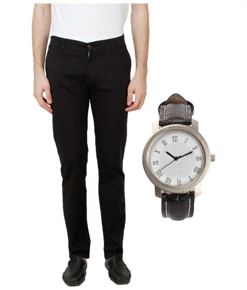 Ansh Fashion Wear Black Regular Fit Chinos