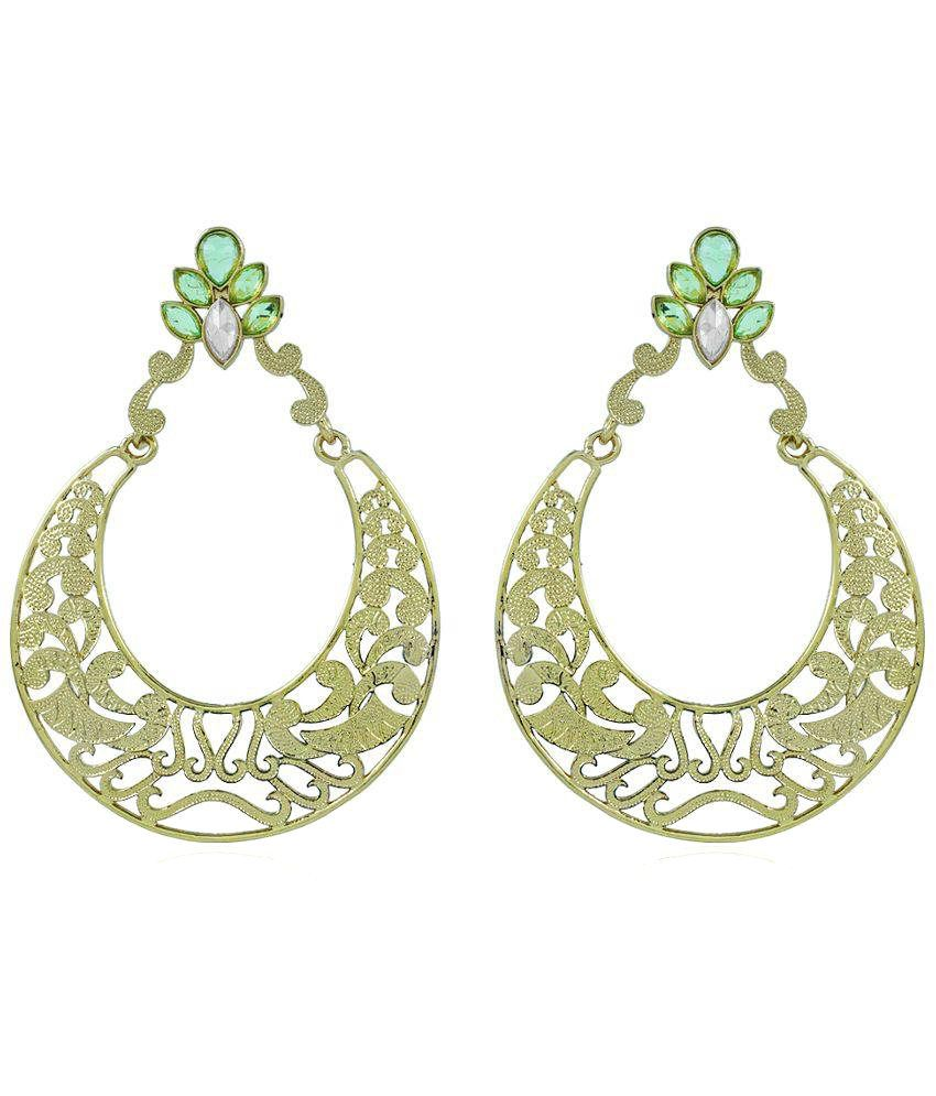 Bo'Bell Alloy Gold Plating Stones Studded Green Coloured Earrings