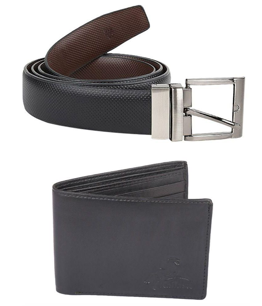 Kailasa Black Formal Leather Belt With Wallet