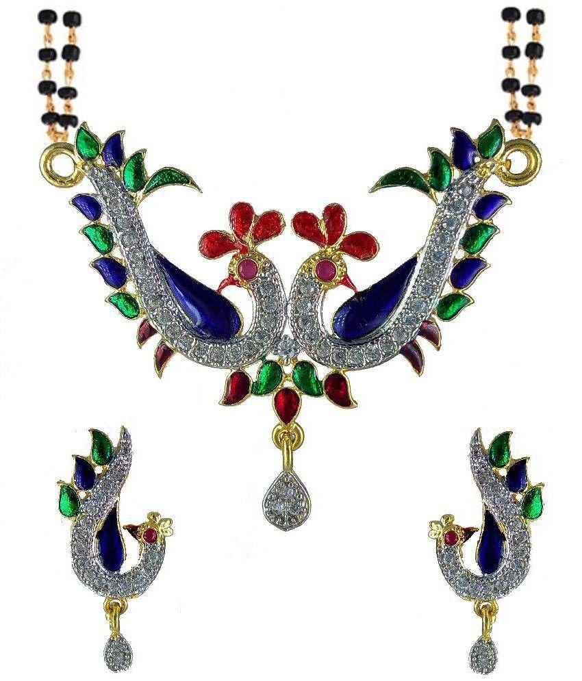 Yuven Alloy American diamonds Studded Multi Coloured Mangalsutra Set