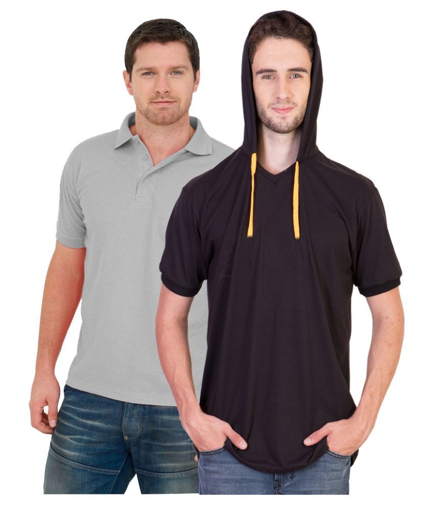 BrandTrendz Multi Henley T Shirt Pack of 2