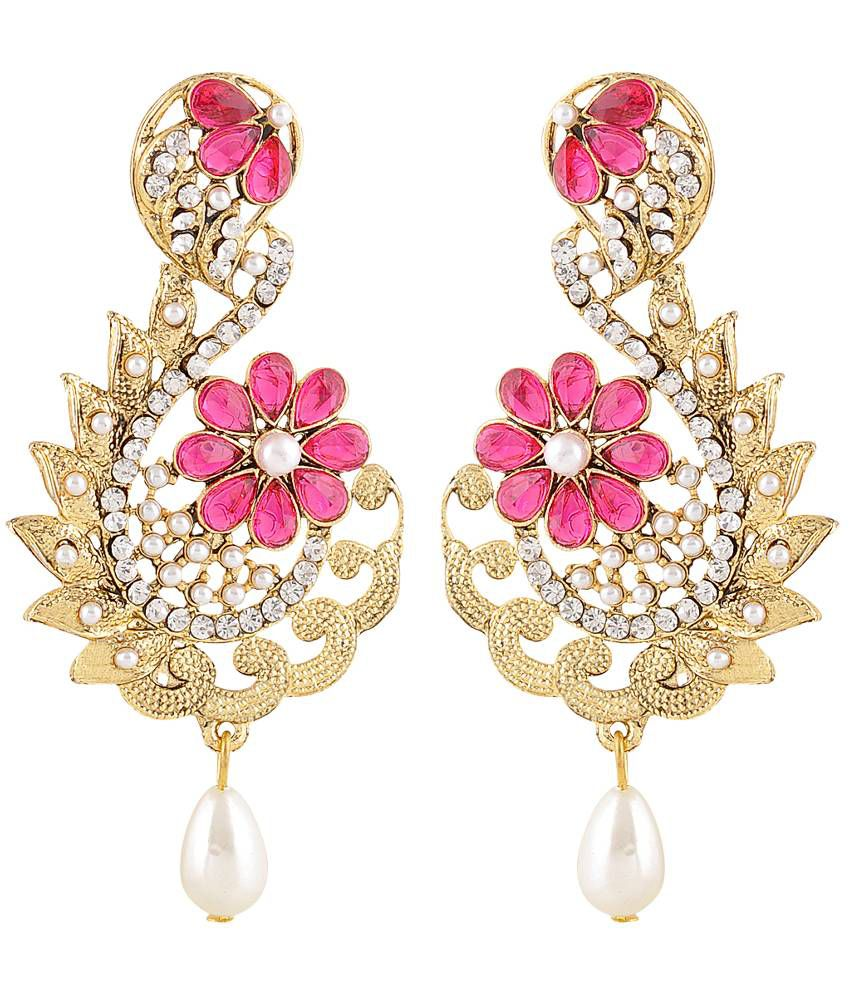 Monjero Alloy Gold Plating Beads Studded Gold Coloured Earrings