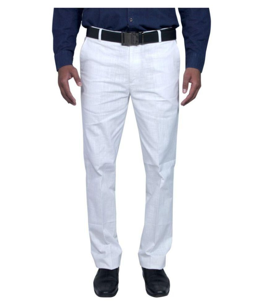 Rich Blue White Regular Fit Pleated Trouser