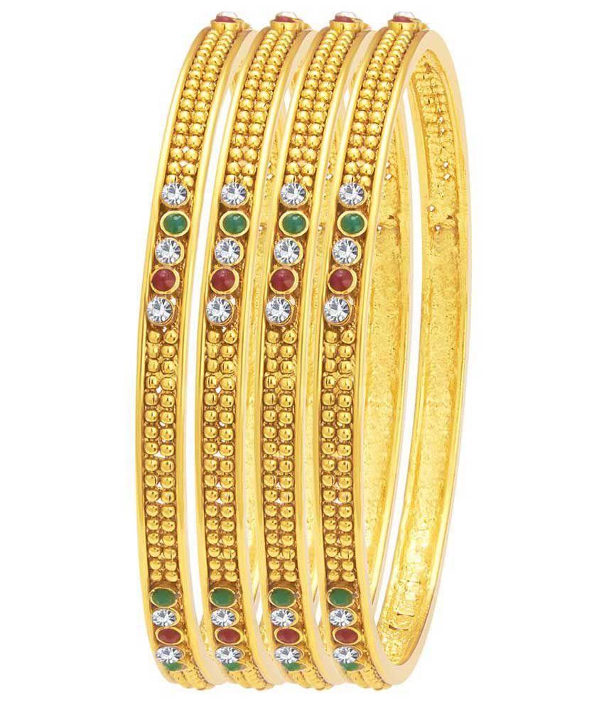 Sukkhi Alloy Gold Plating Austrian Diamond Studded Gold Coloured Bangle Set