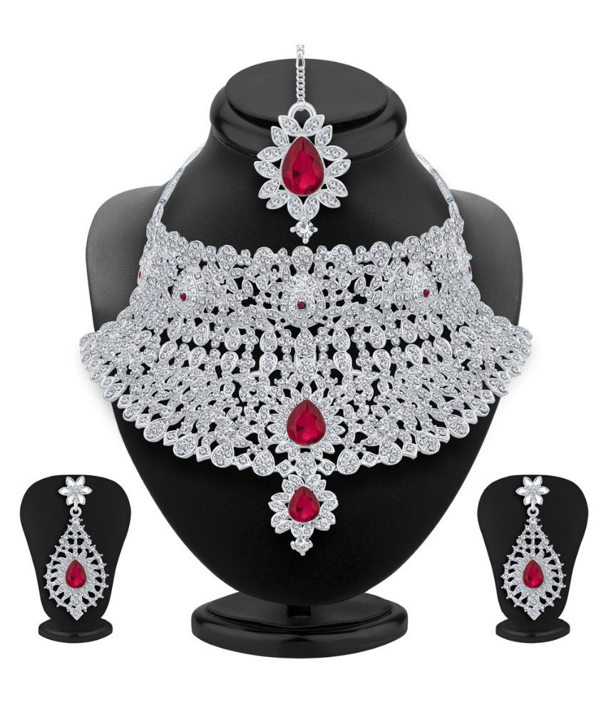 Sukkhi Alloy Rhodium Plating Studded White Coloured Necklaces Set