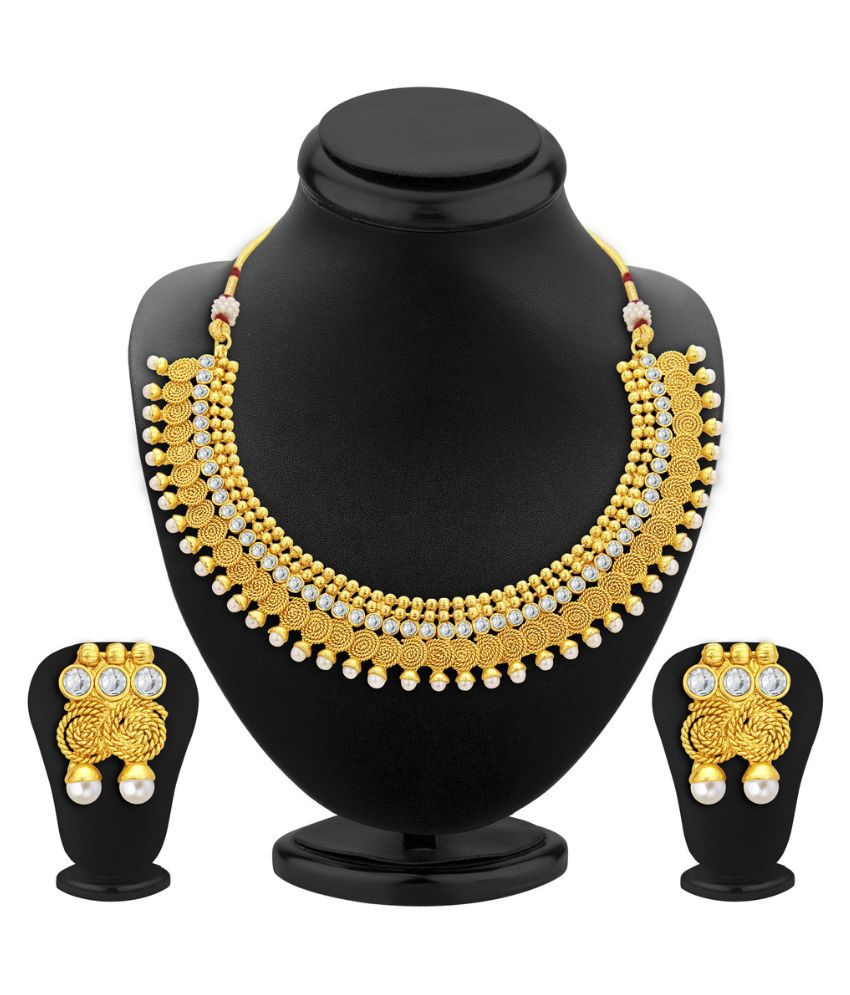 Sukkhi Golden Alloy Necklace Set