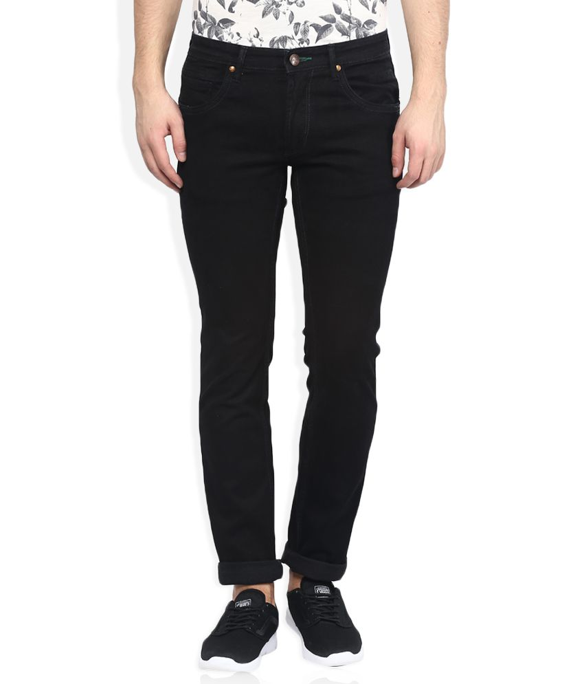 SIN Black Slim Fit Solid Jeans