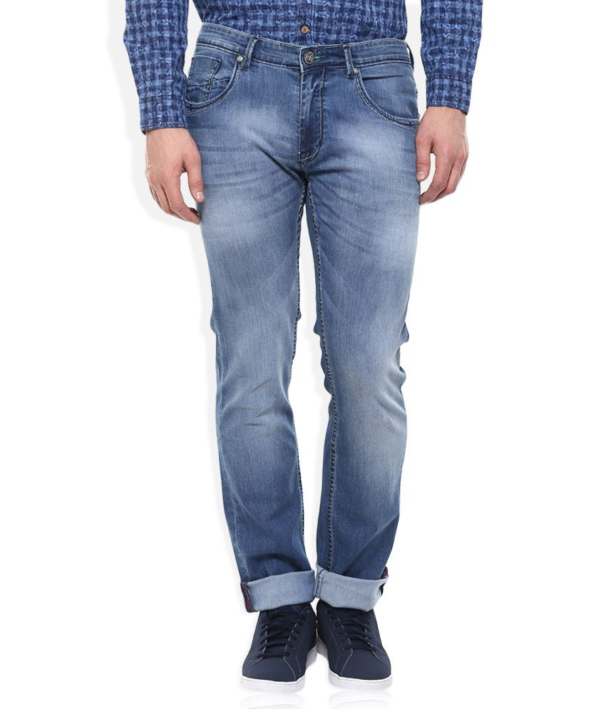 SIN Blue Slim Fit Faded Jeans