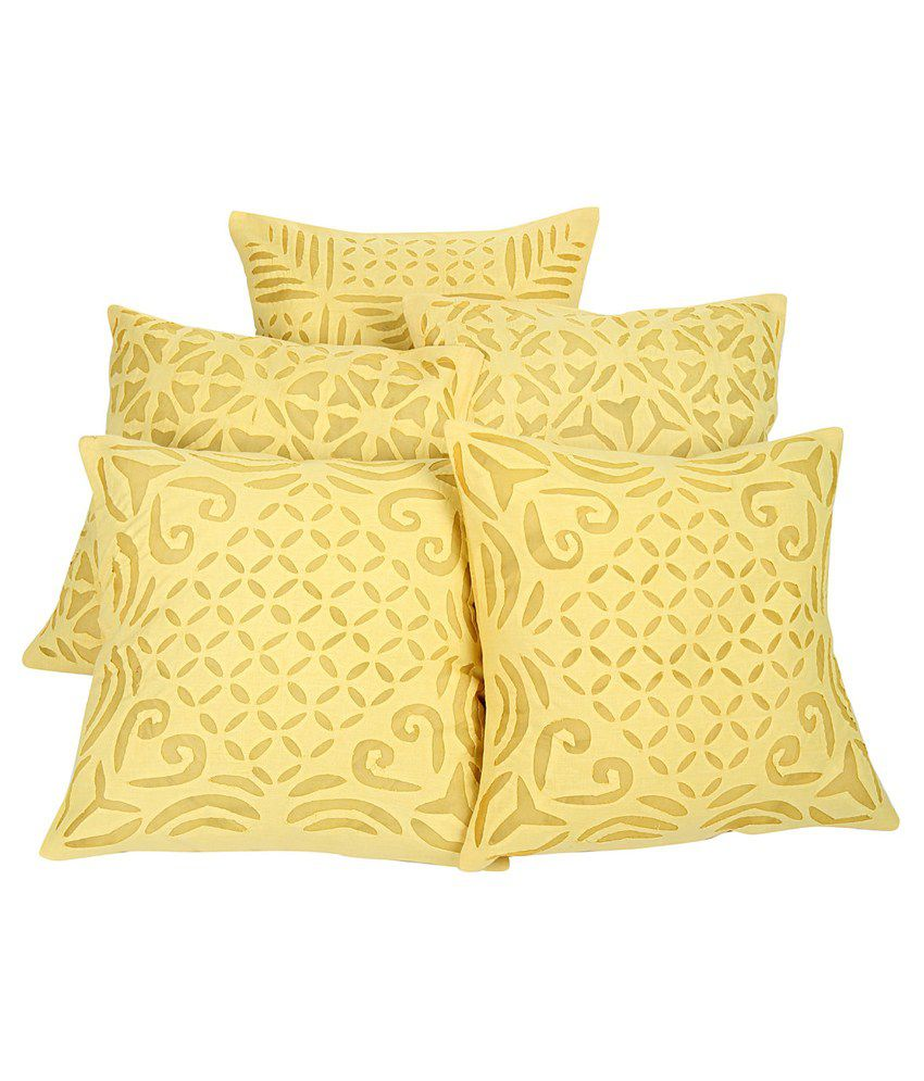 Rajrang Yellow Cotton Cushion Covers - Pack of 5