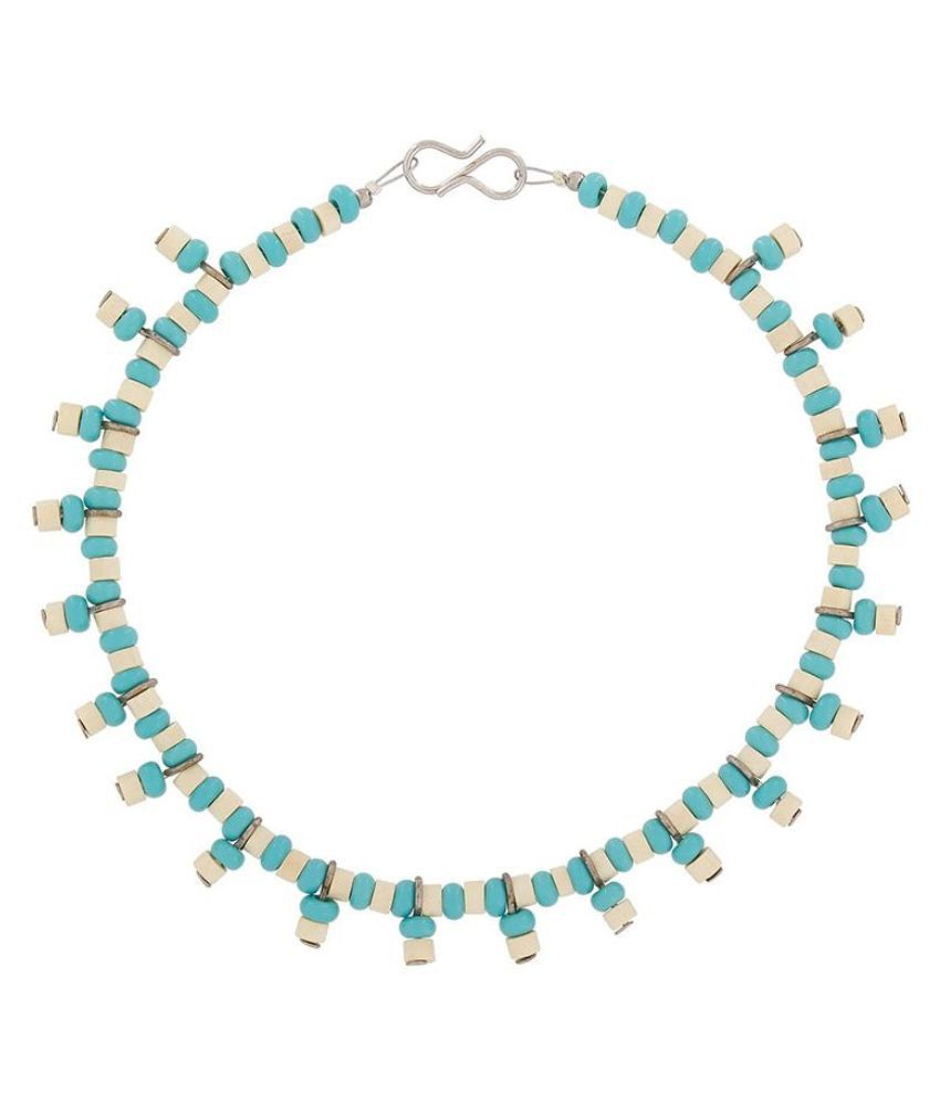 The Luxor Beads Studded Blue Coloured Pair Of Anklets