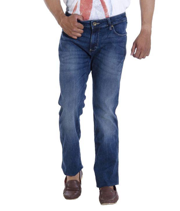 Wranglar Blue Slim Fit Faded Jeans