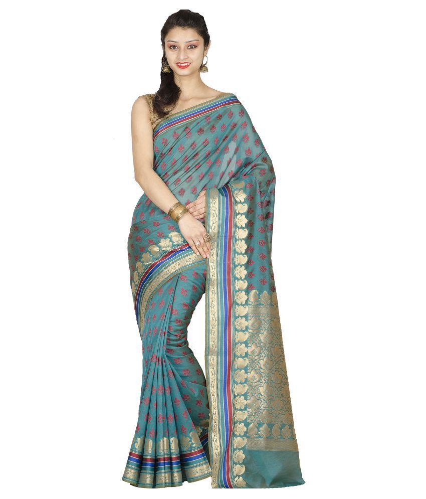 Chandrakala Blue Jamdani Saree