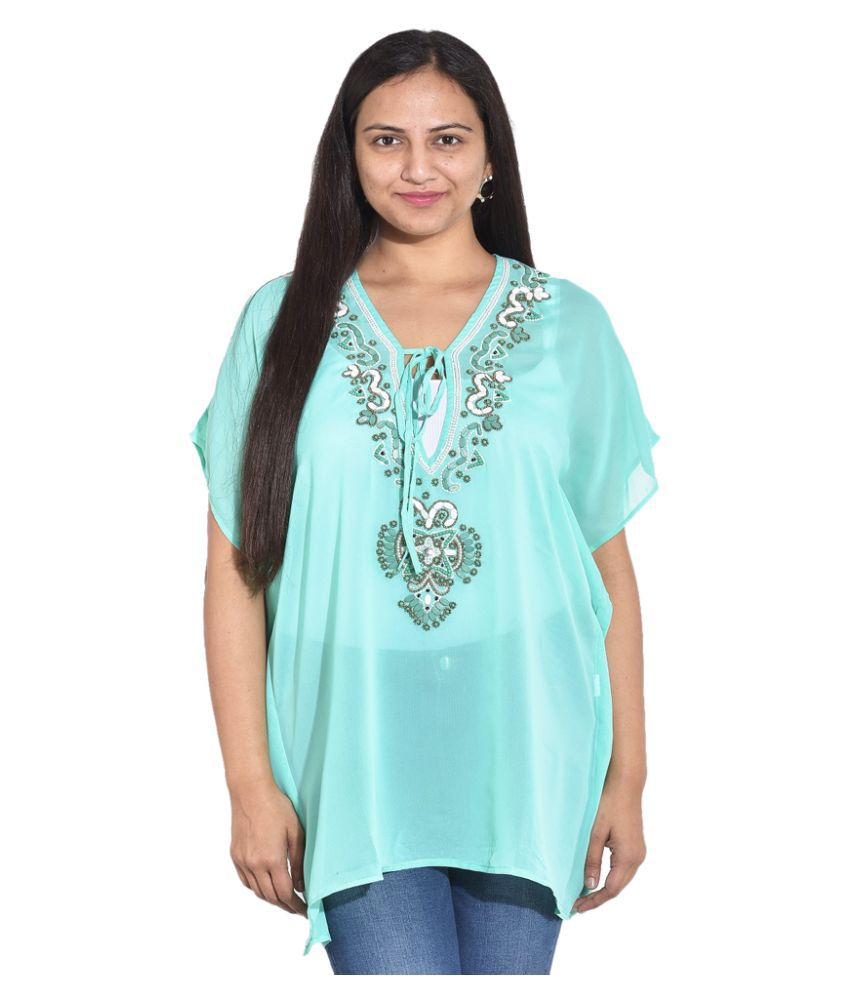 Entease Turquoise Poly Georgette Tunics