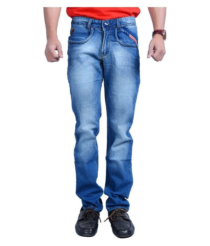 Fusion Navy Regular Fit Faded Jeans
