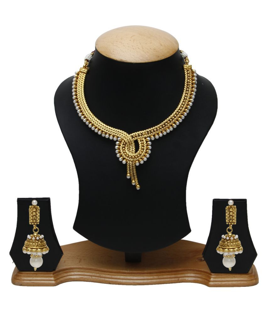 Jewels Galaxy Alloy Gold Plating Studded Gold Coloured Necklaces Set