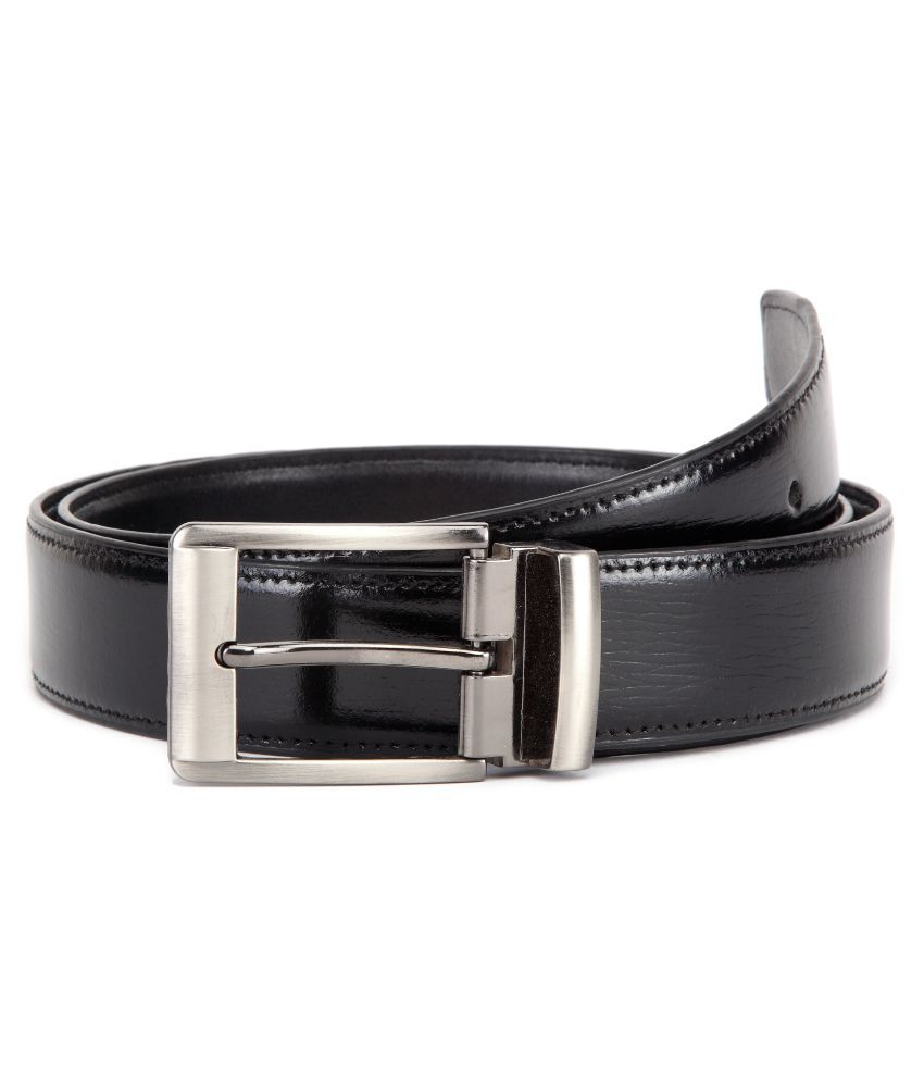 U+N  Black Genuine Leather Classic Formal Belt for Men