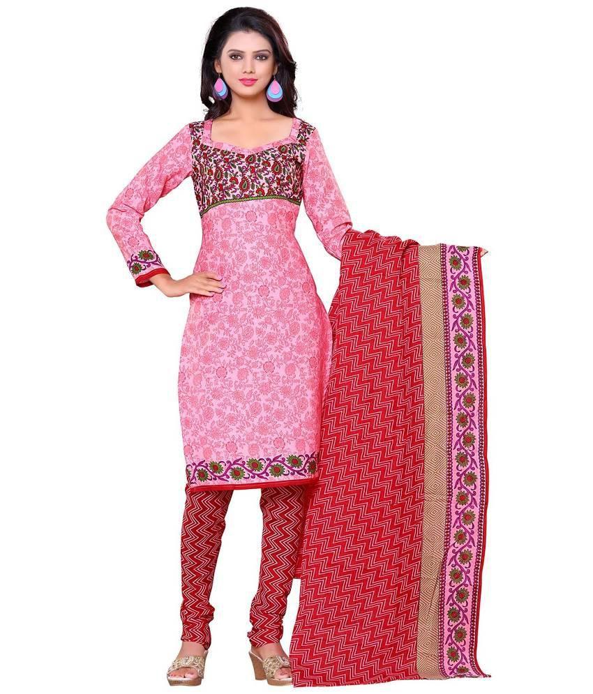 Wedding villa pink cotton straight unstitched dress for Wedding dress material online