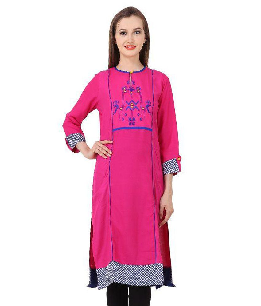 Deetya Creations Pink Cotton Straight Kurti