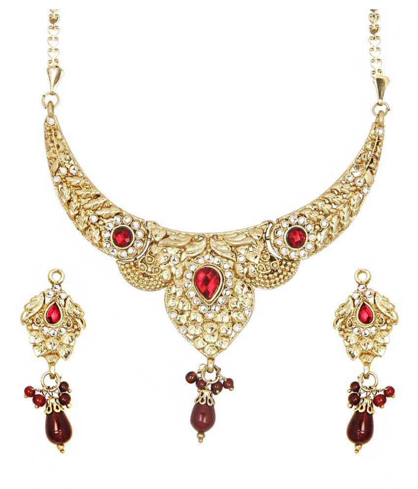 Gift Punch Services Pvt Ltd Zinc Studded Red Coloured Necklaces Set