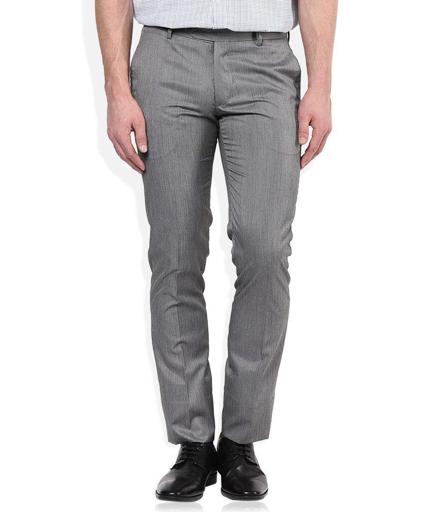 John Players Grey Slim Pleated Trouser
