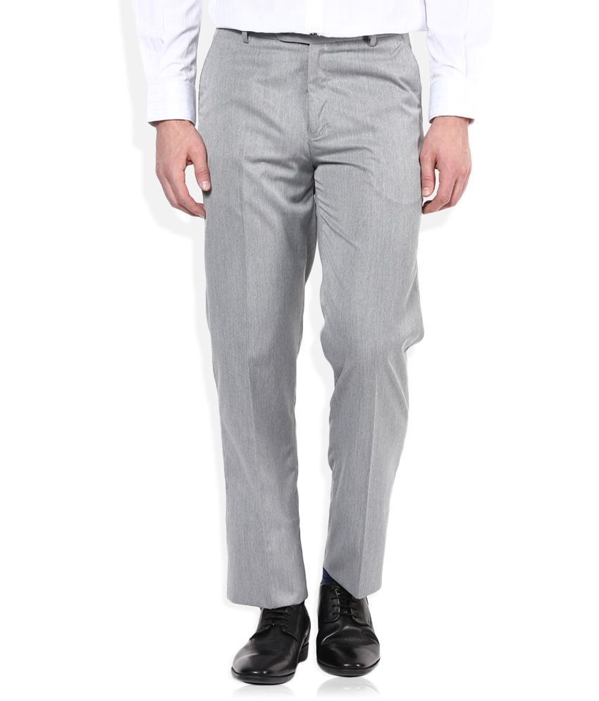 John Players Grey Regular Pleated Trouser