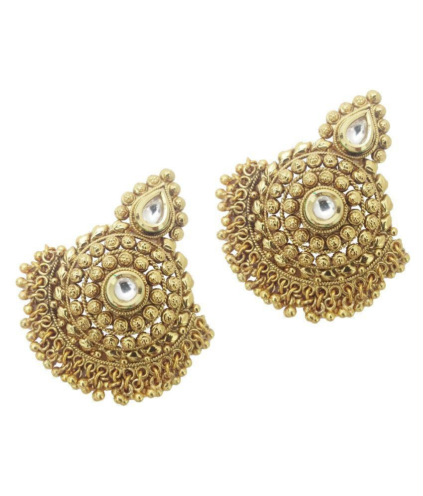 My Design Copper Gold Plating Studded Coloured Earrings
