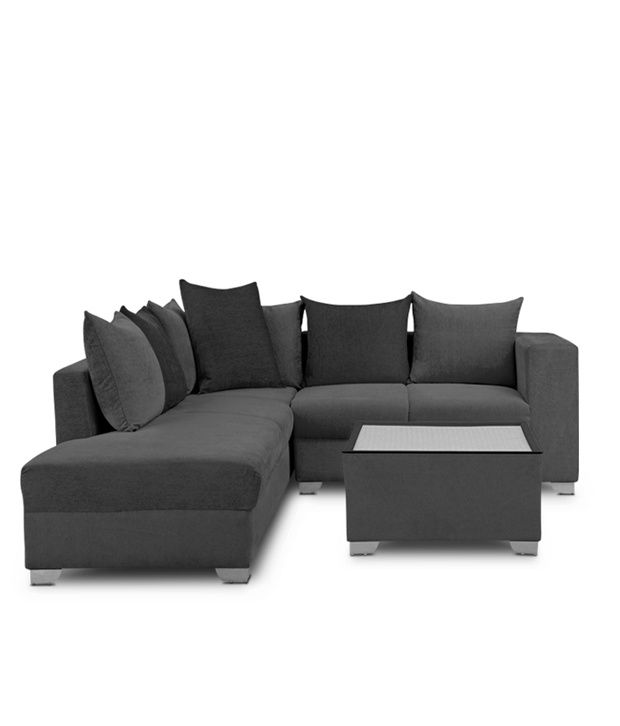 S K Furniture Mestler Grey Sofa Set With Center Table