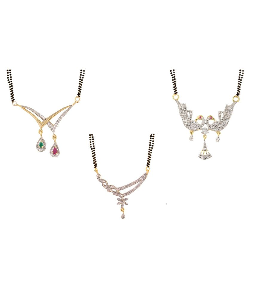 YouBella Alloy Gold Plating American diamonds Studded Multi Coloured Mangalsutra - Pack of 3