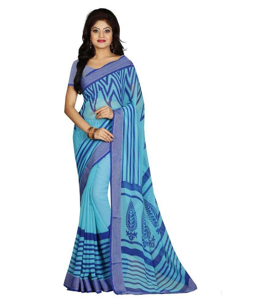 Vishal Prints Blue Georgette Saree